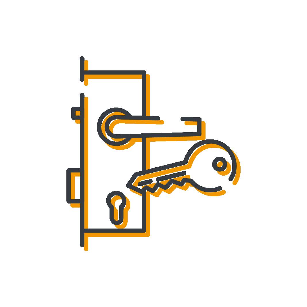 Icône serrures et clés produits serrurerie Mertens